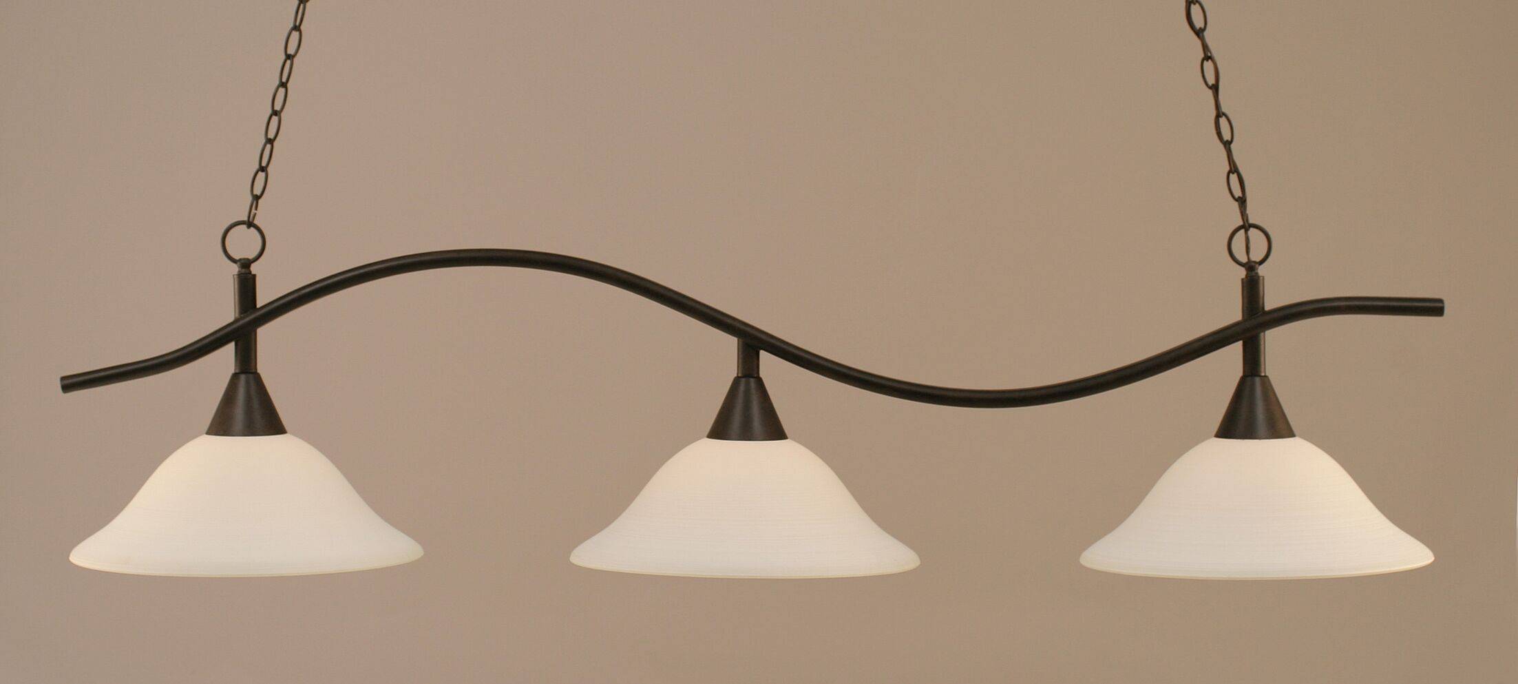 Demi 3-Light Billiard Light Finish: Dark Granite, Shade: White Linen Glass
