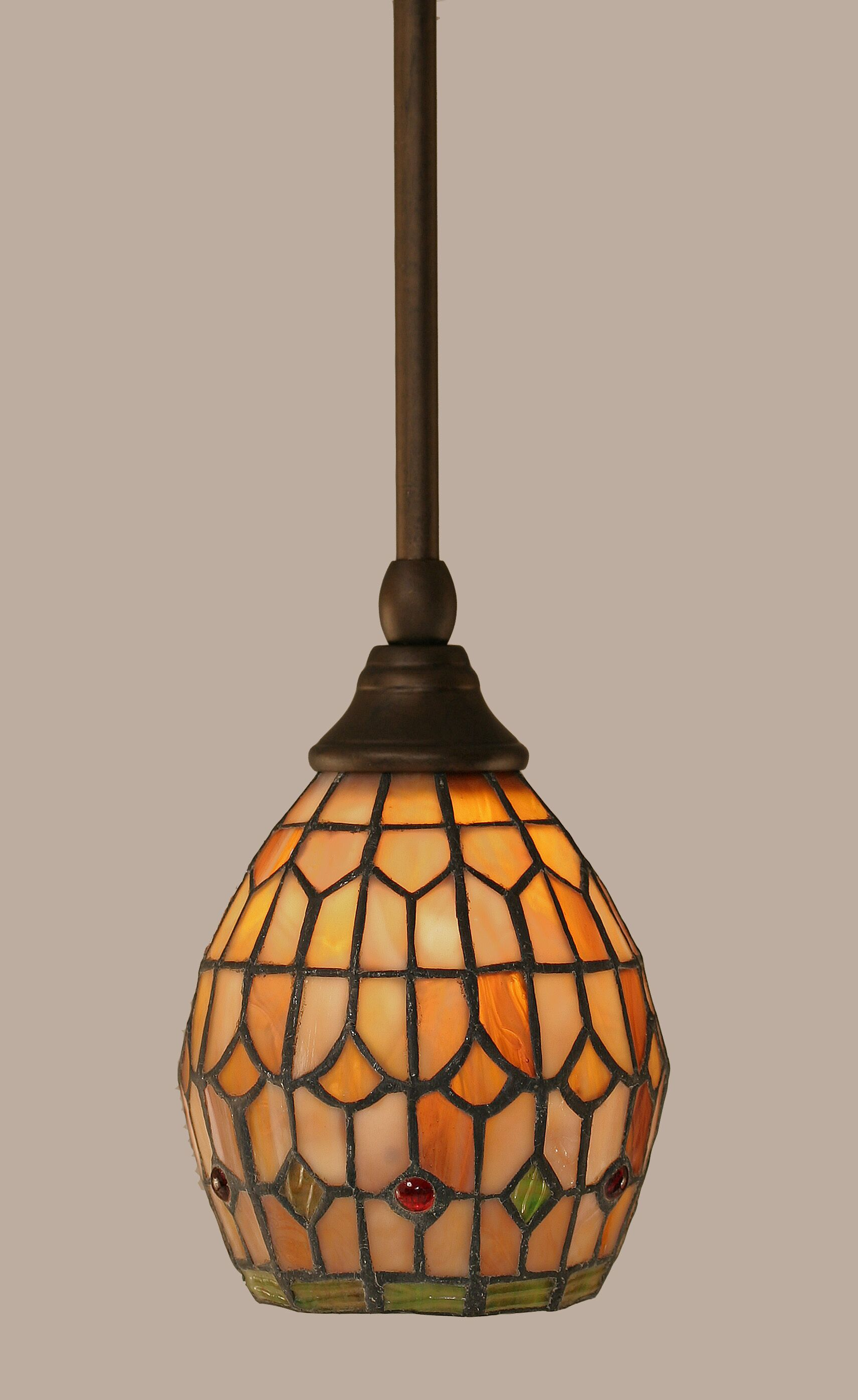 Rodrigues 1-Light Stem Mini Pendant With Hang Straight Swivel Finish: Bronze