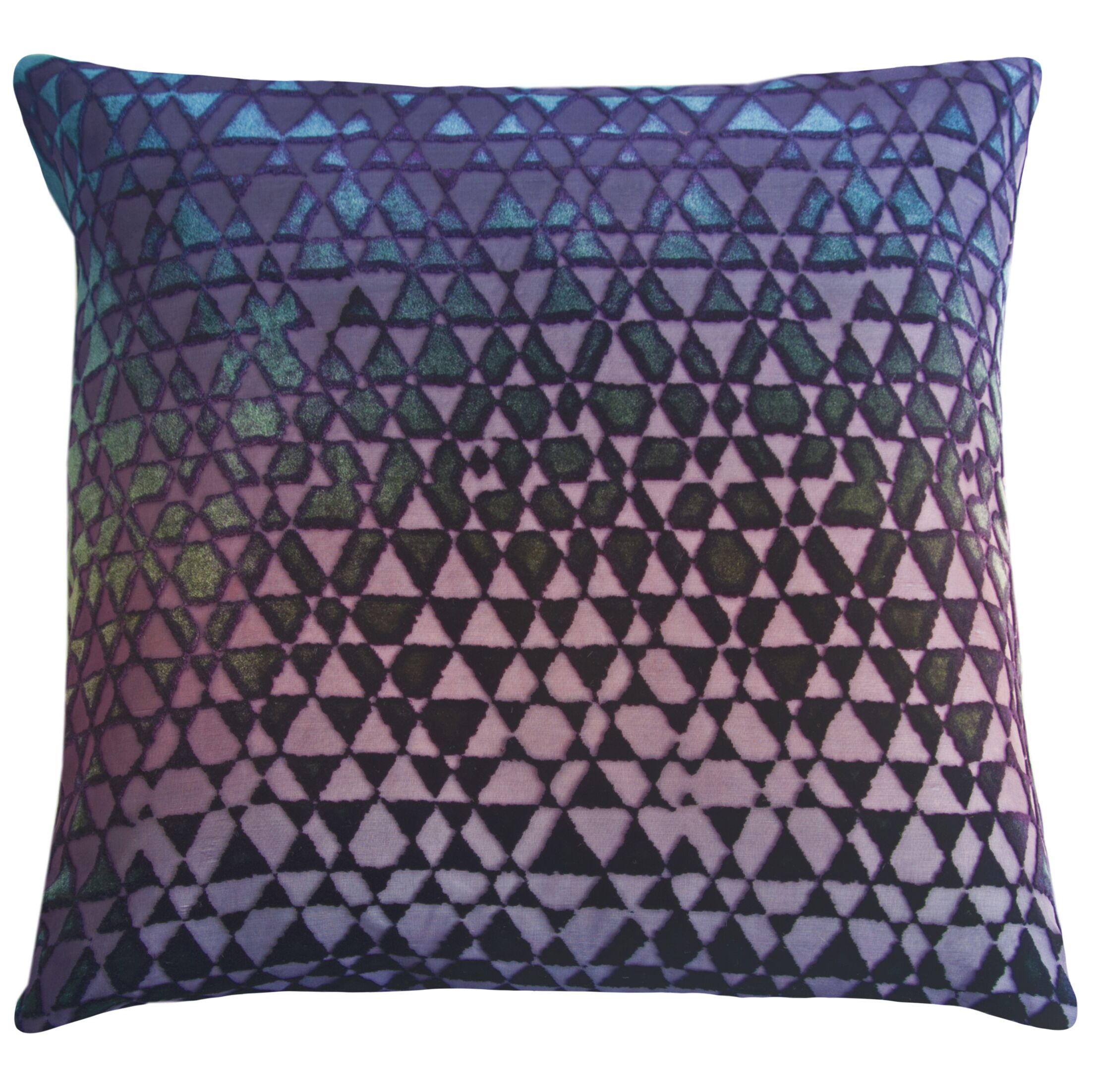 Triangles Velvet Throw Pillow Color: Peacock, Size: 18