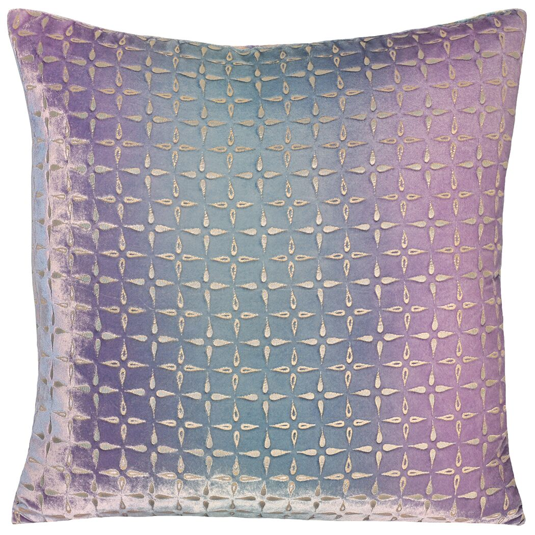 Metallic Petals Velvet Pillow Color: Cornflower