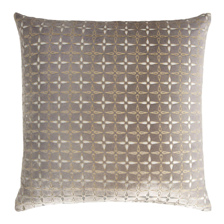 Metallic Petals Velvet Pillow Color: Coyote
