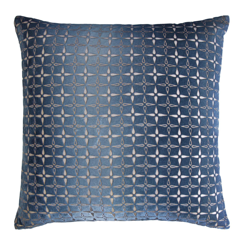 Metallic Petals Velvet Pillow Color: Denim