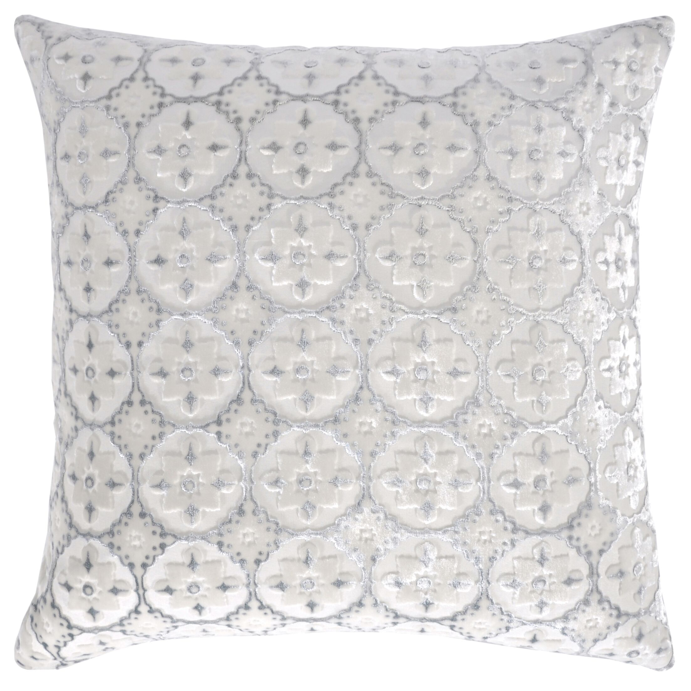 Small Moroccan Velvet Pillow Size: 18'' H x 18'' W x 4'' D, Color: White