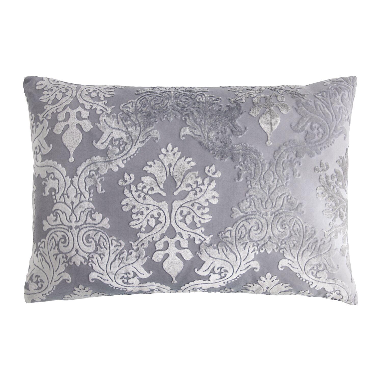 Brocade Velvet Lumbar Pillow Color: Silver