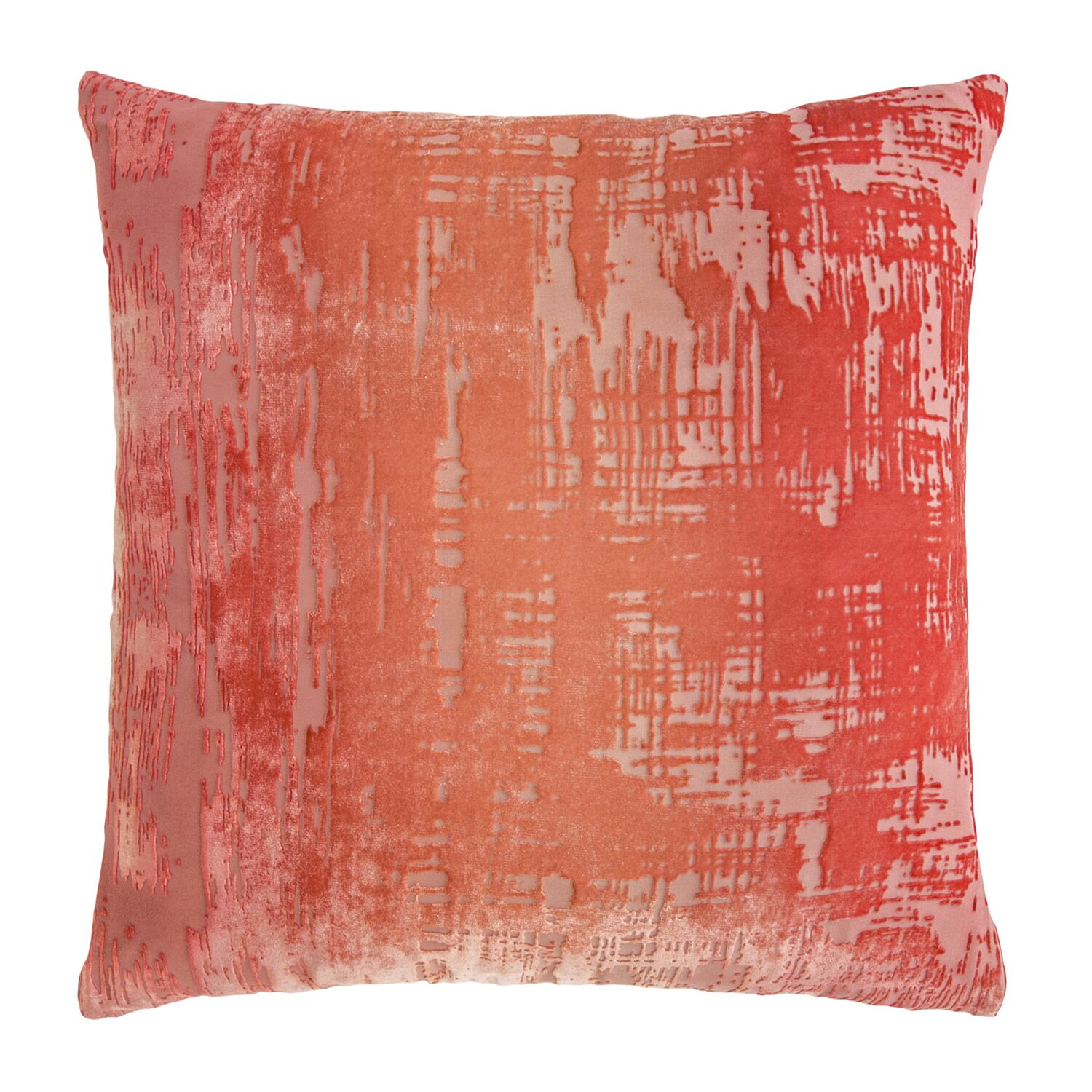 Brushstroke Velvet Throw Pillow Color: Coral
