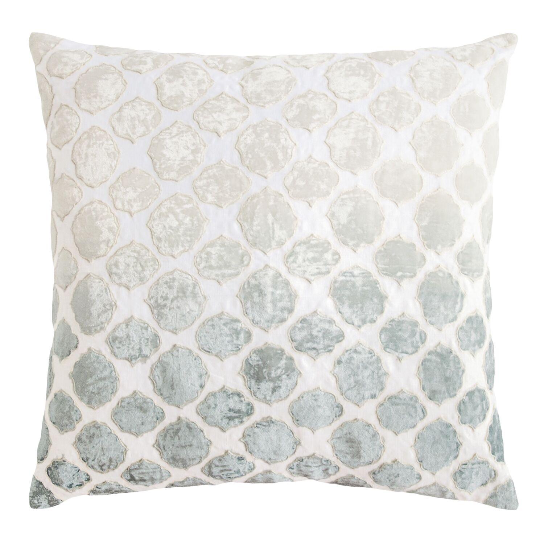Tile Appliqued Linen Pillow Color: Sage/White