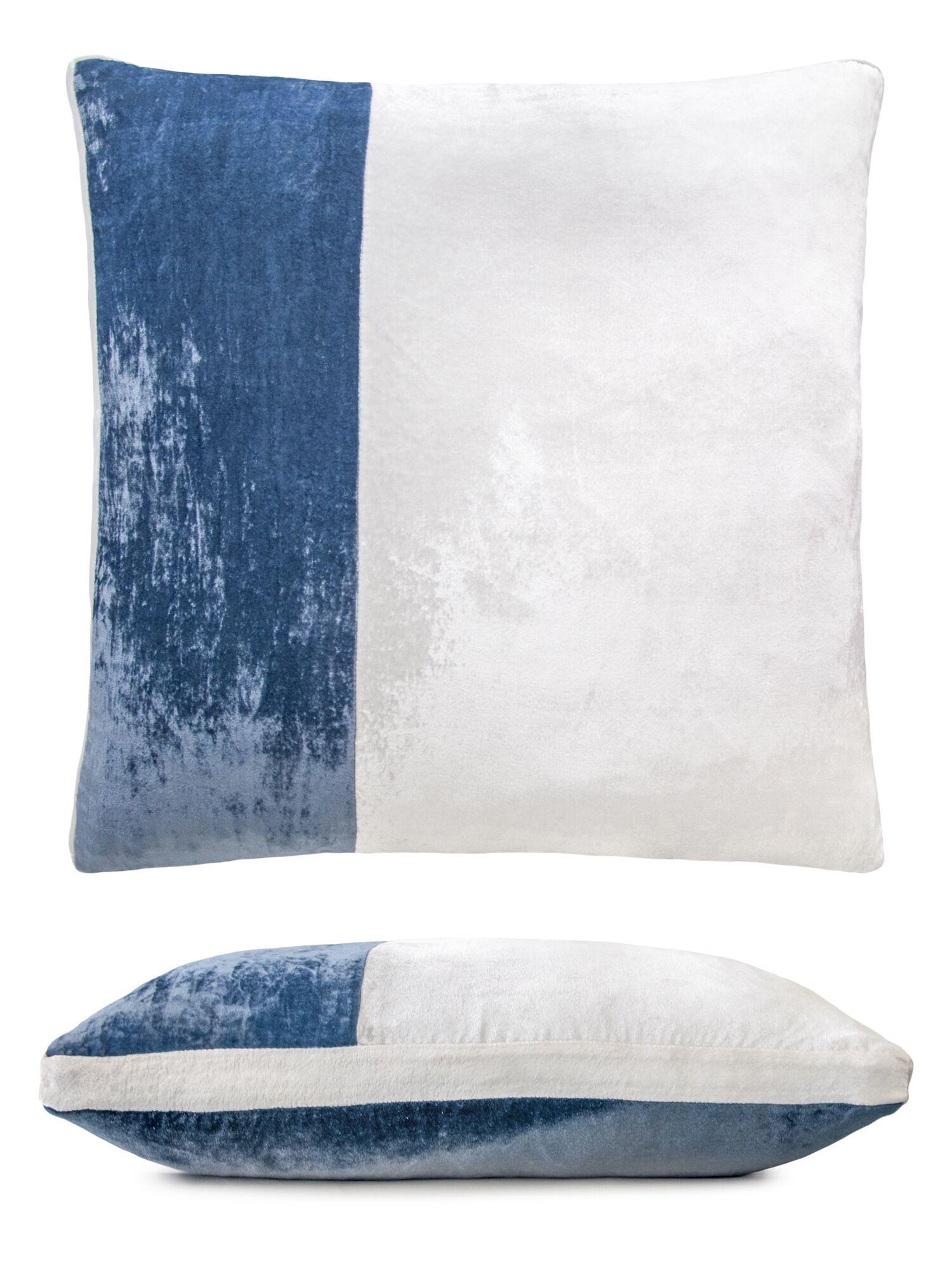 Color Block Velvet Pillow Color: Denim
