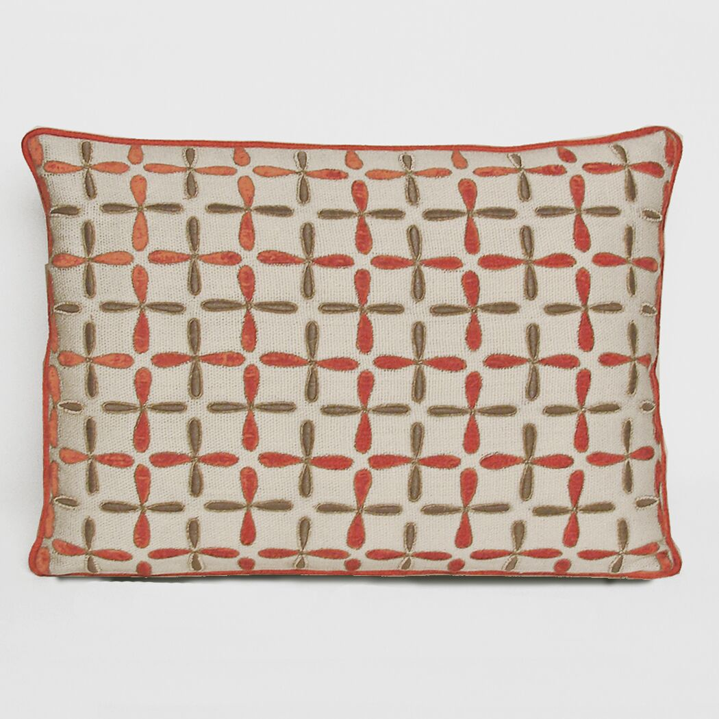 Petal Flower Embellished Linen Lumbar Pillow Color: Coral, Size: 15