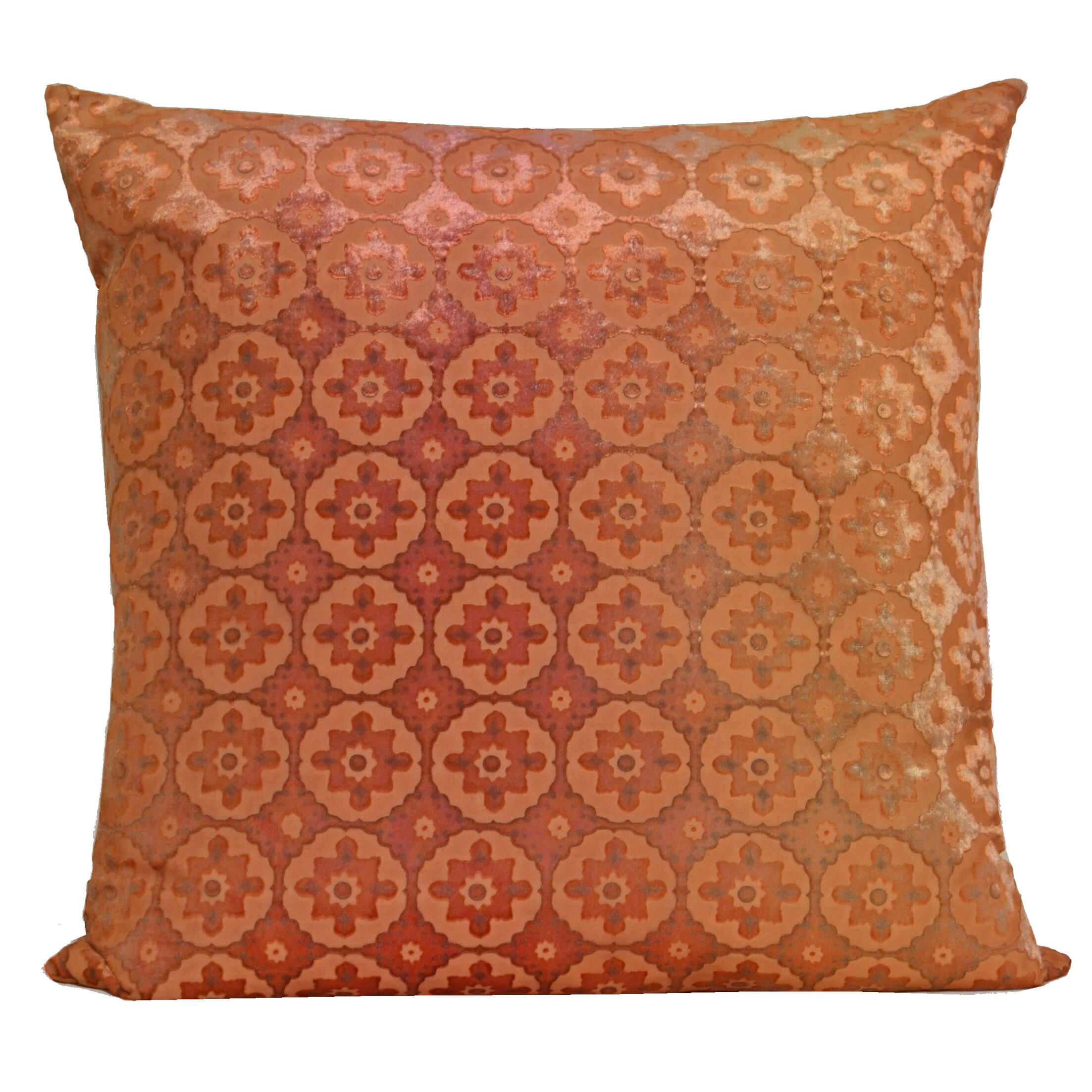 Small Moroccan Velvet Pillow Color: Pink/Gold, Size: 18'' H x 18'' W x 4'' D