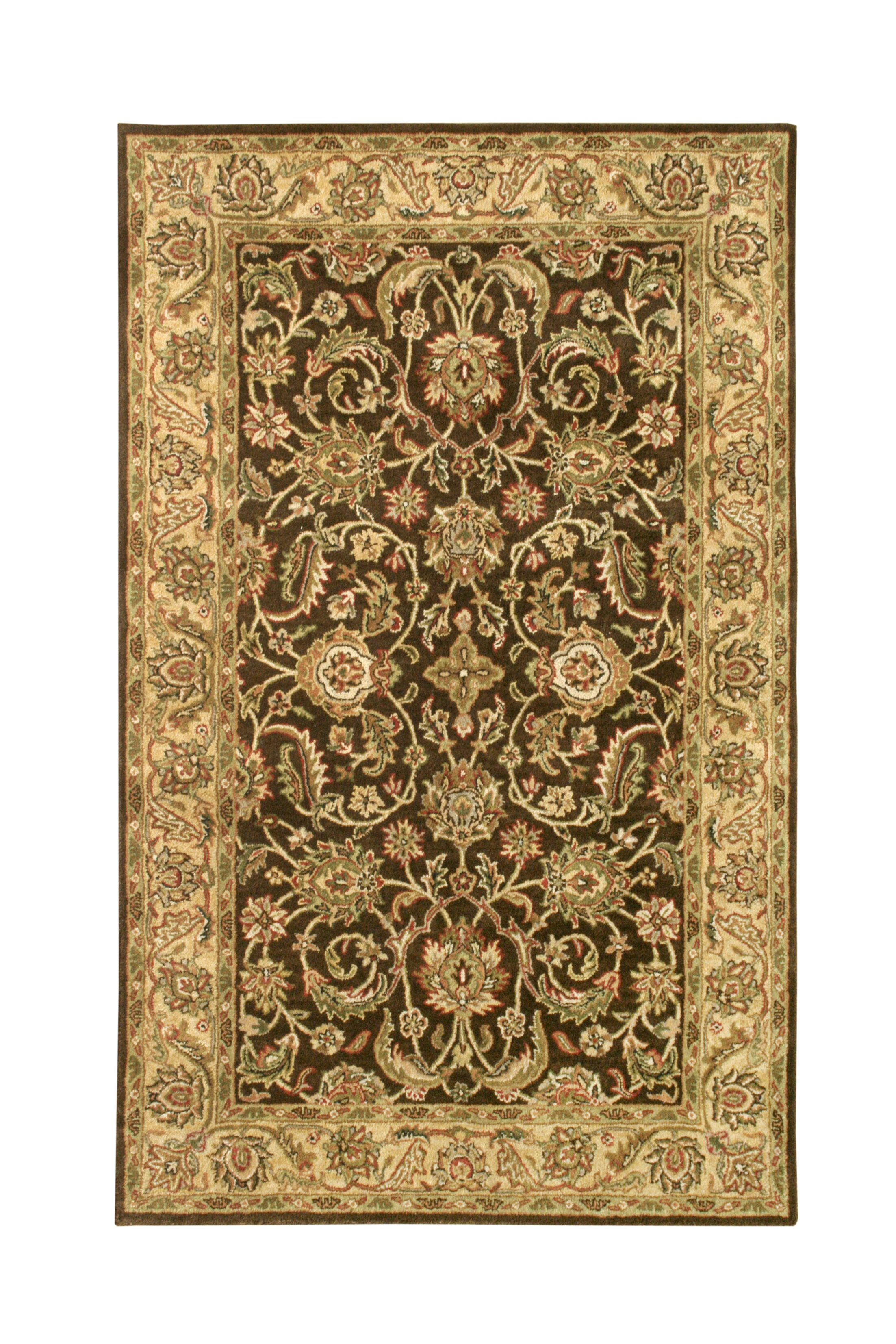 Harmony Brown/Gold Floral Area Rug Rug Size: 3'6