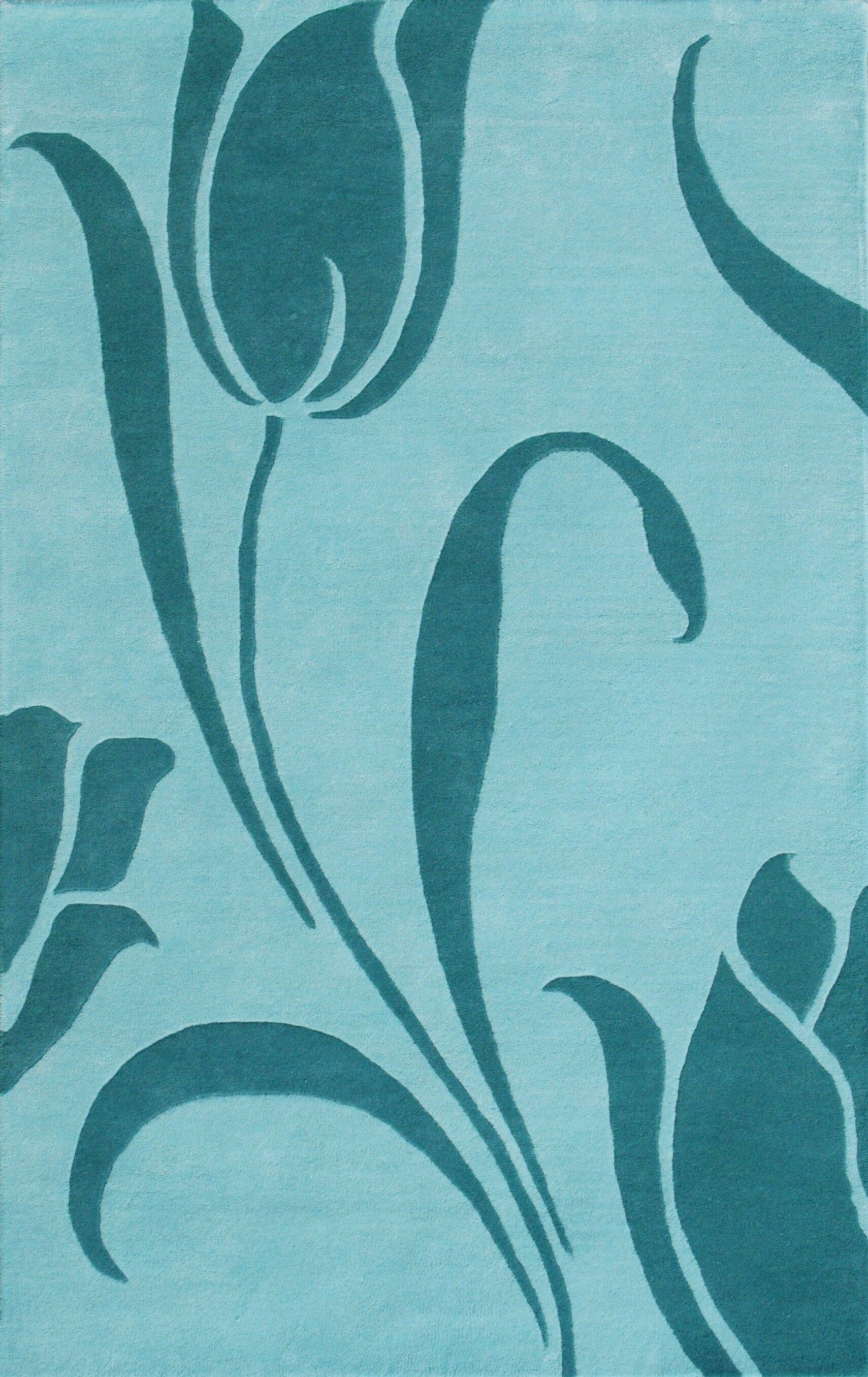 Floral Light Blue Area Rug Rug Size: 5' x 8'