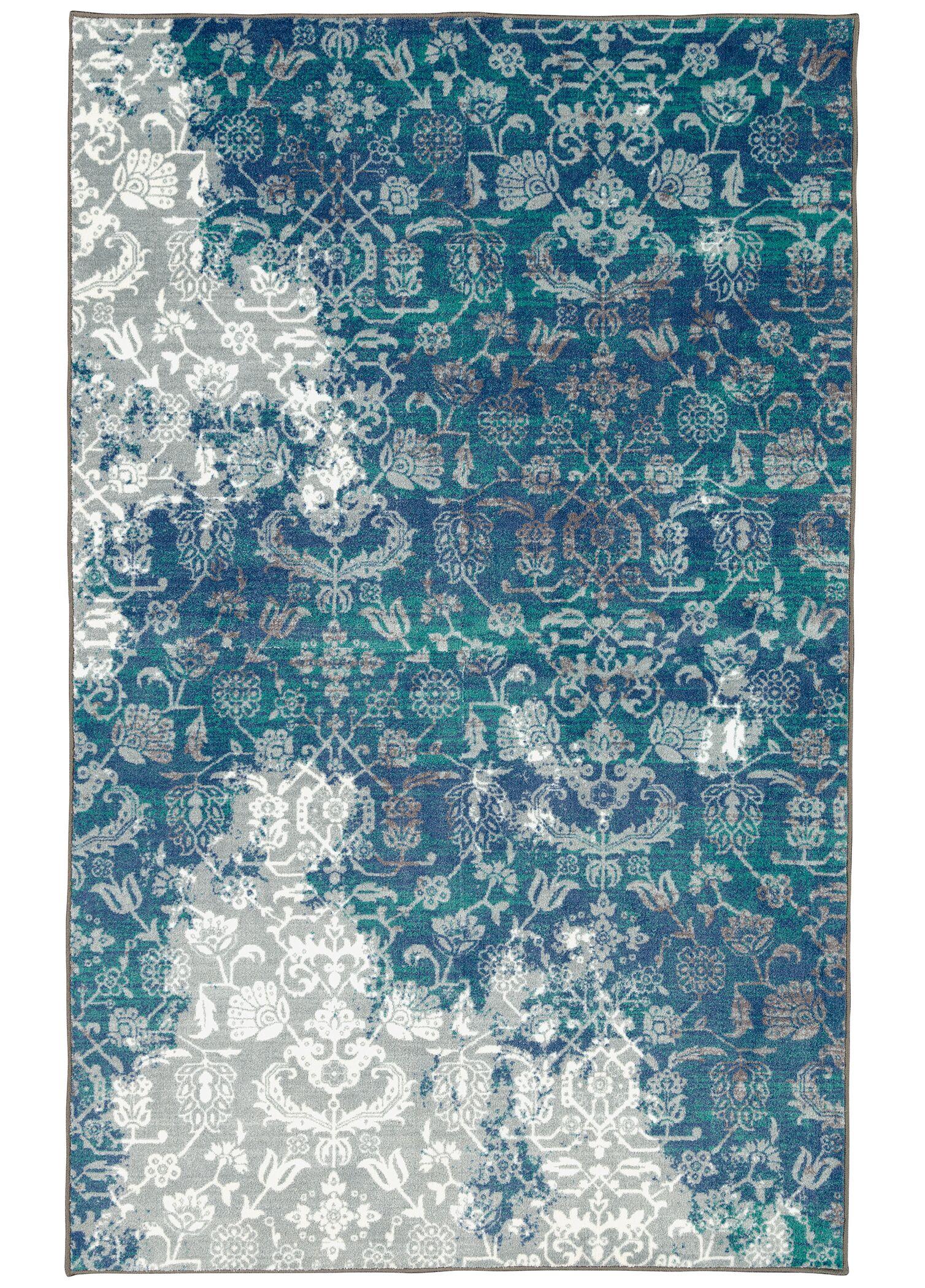 Asherman Aqua/Blue Area Rug Rug Size: Rectangle 7'6