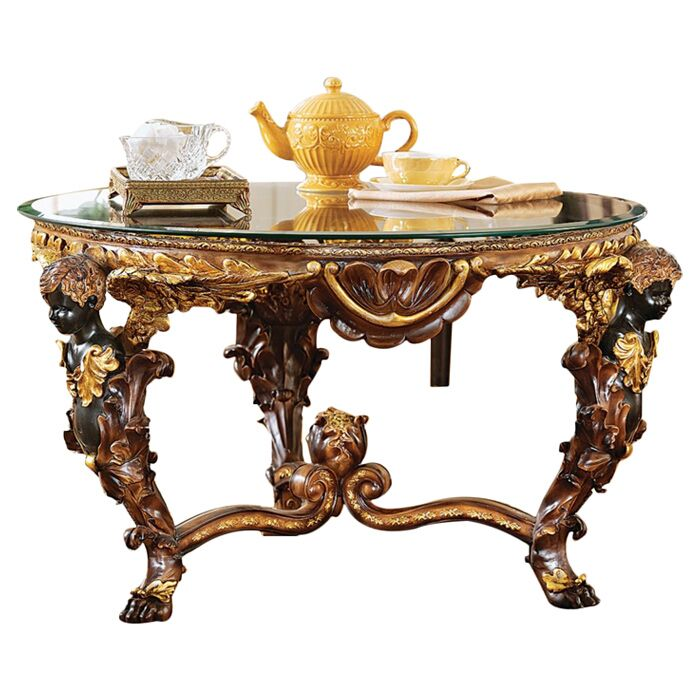 Louis Xiv Coffee Table with Glass Top