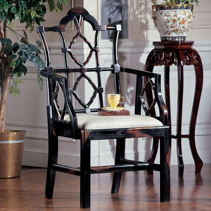 Chinese Chippendale Fabric Armchair