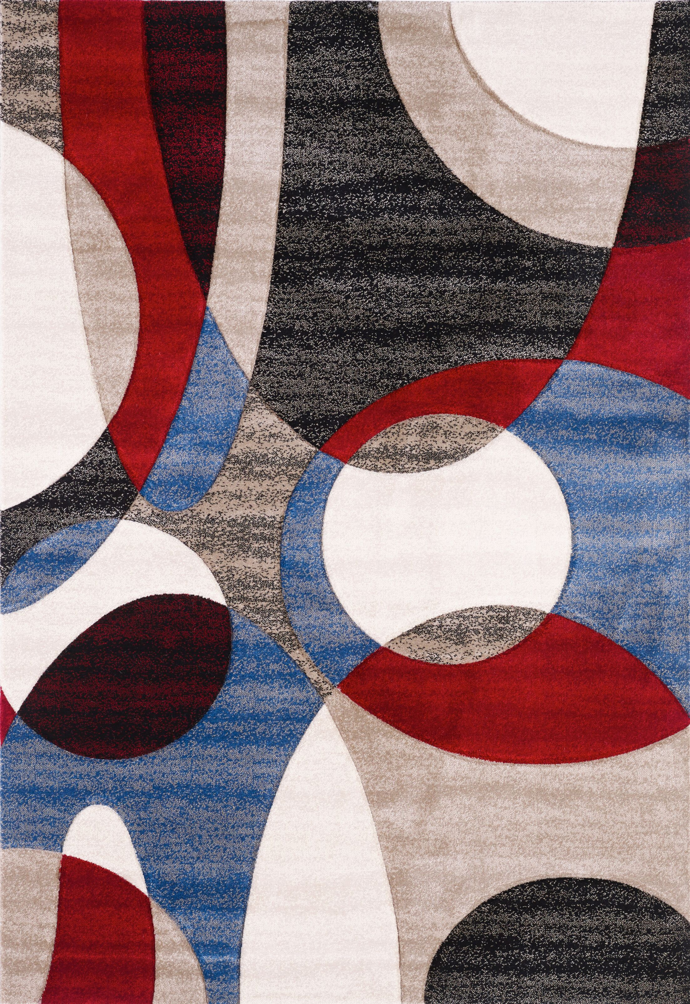 French Red/Blue Area Rug Size: Rectangle 5'3