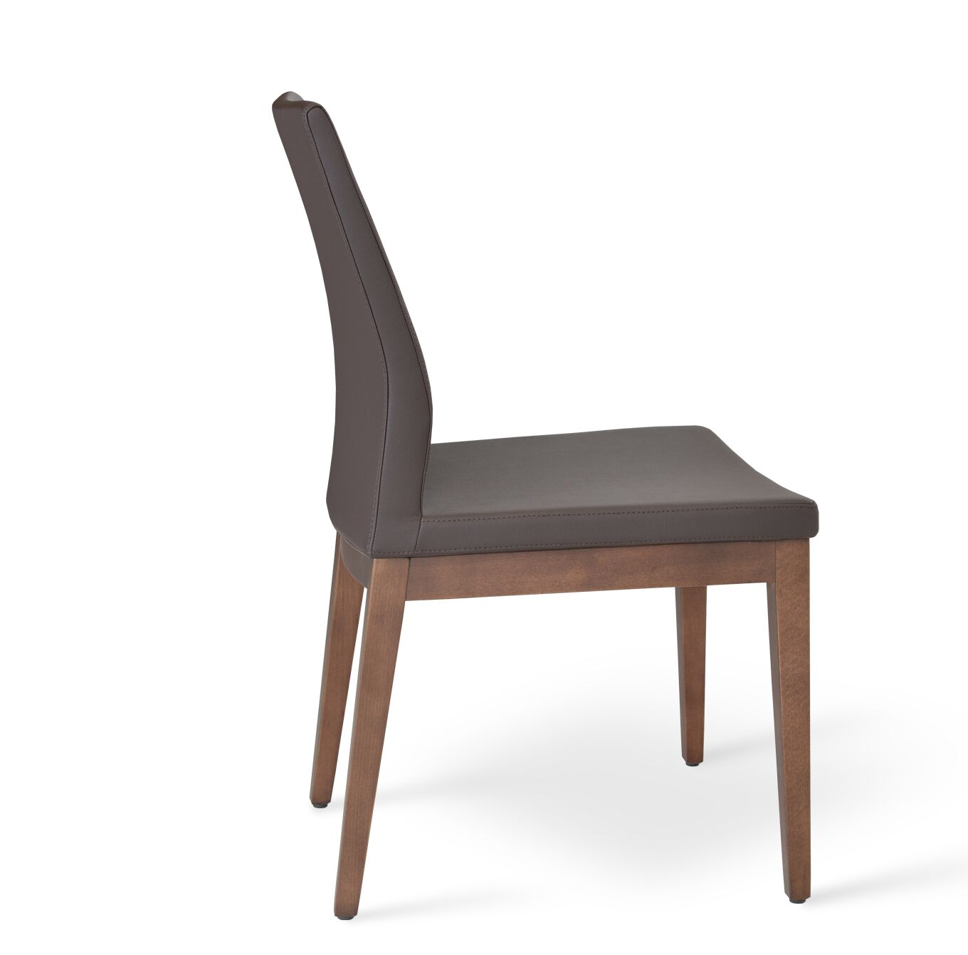 Pasha Side Chair in Leatherette Frame Color: Walnut, Upholstery Color: Brown
