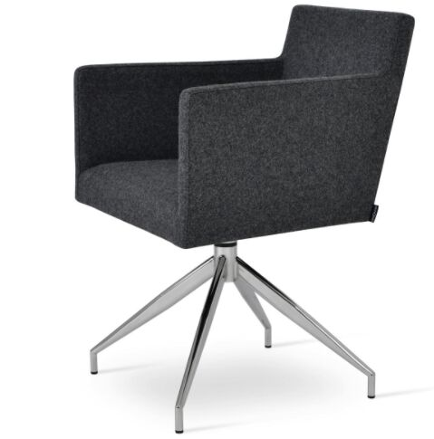 Harput Spider Arm Chair Upholstery Type - Color: Wool - Dark Gray