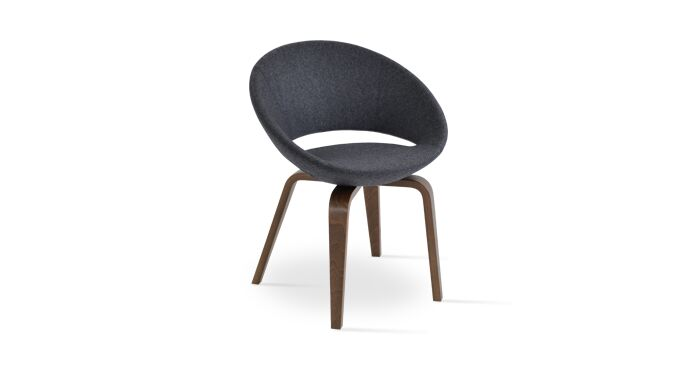 Crescent Plywood Upholstered Dining Chair Frame Color: American Walnut, Upholstery Color: Velvet Gold