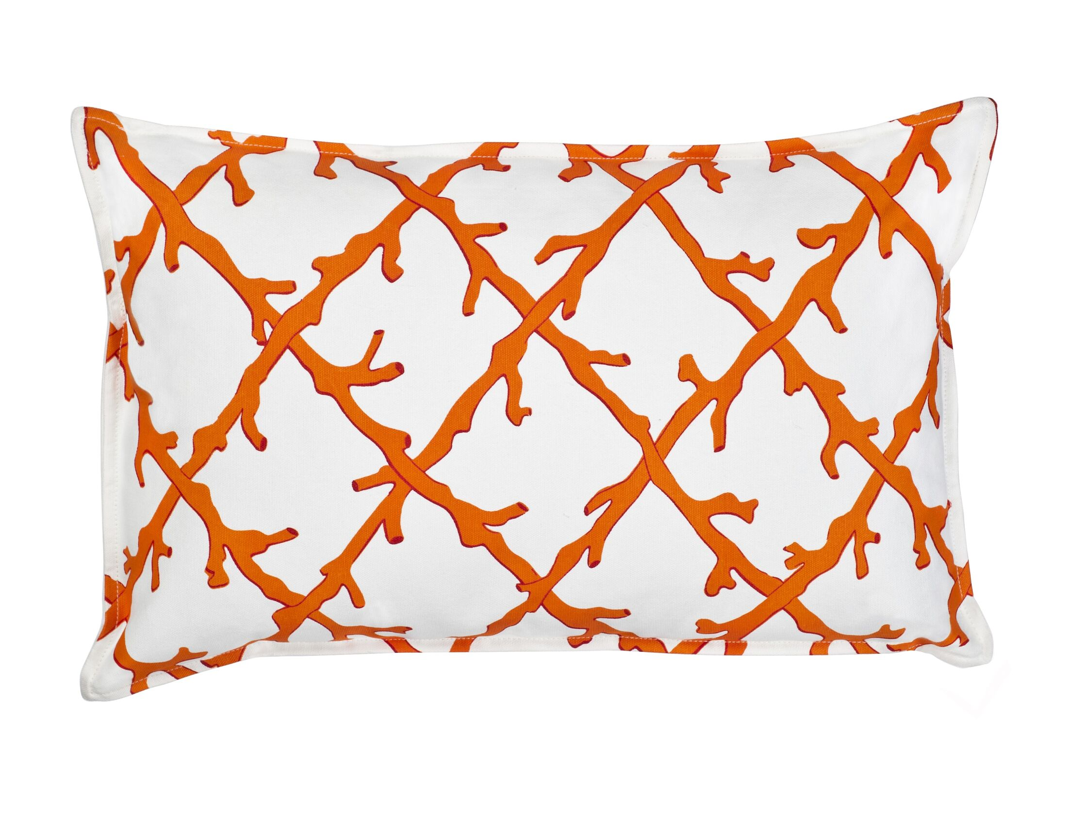 Lattice Cotton Canvas Lumbar Pillow Color: Orange