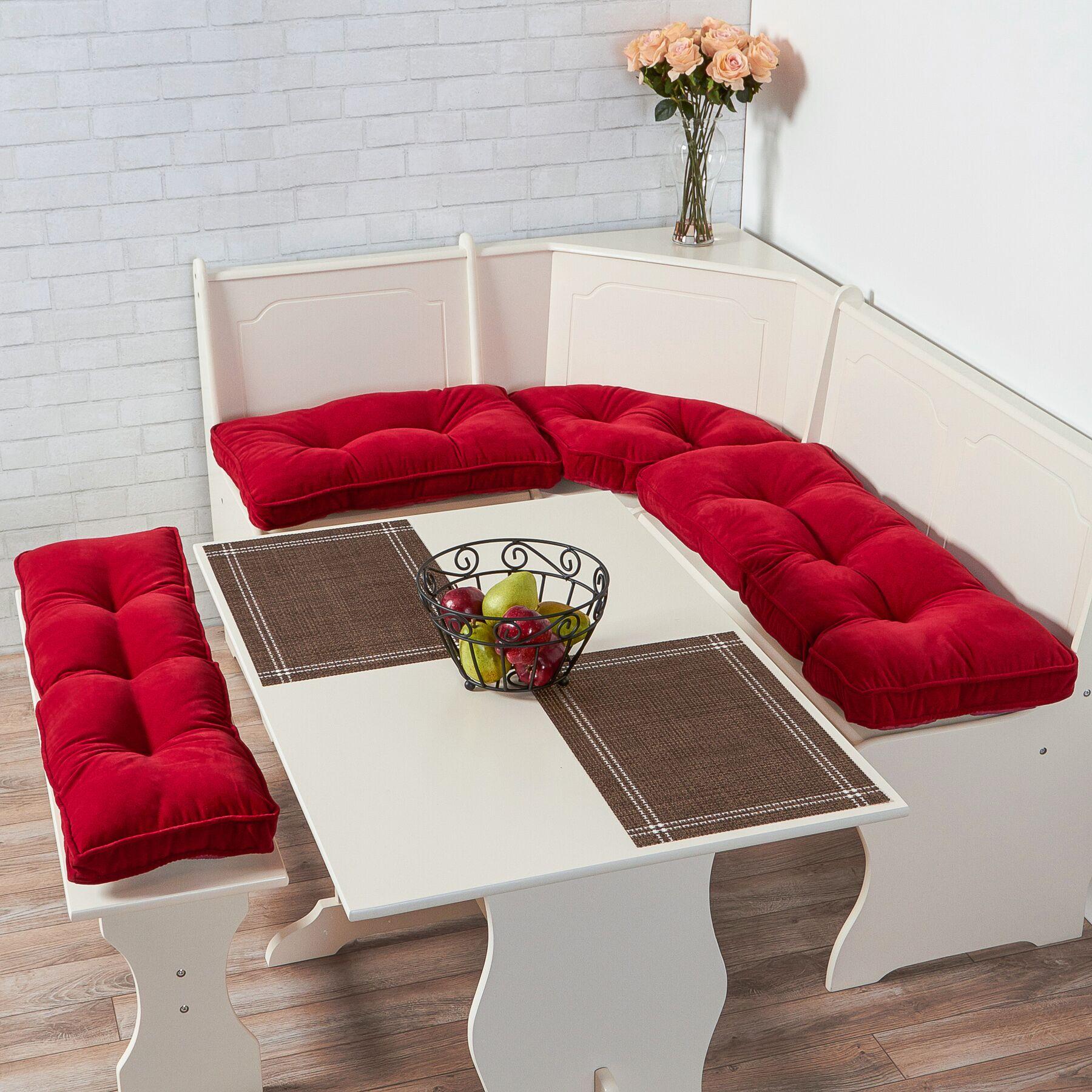 Joie 4 Piece Bench Cushion Set Fabric: Scarlet