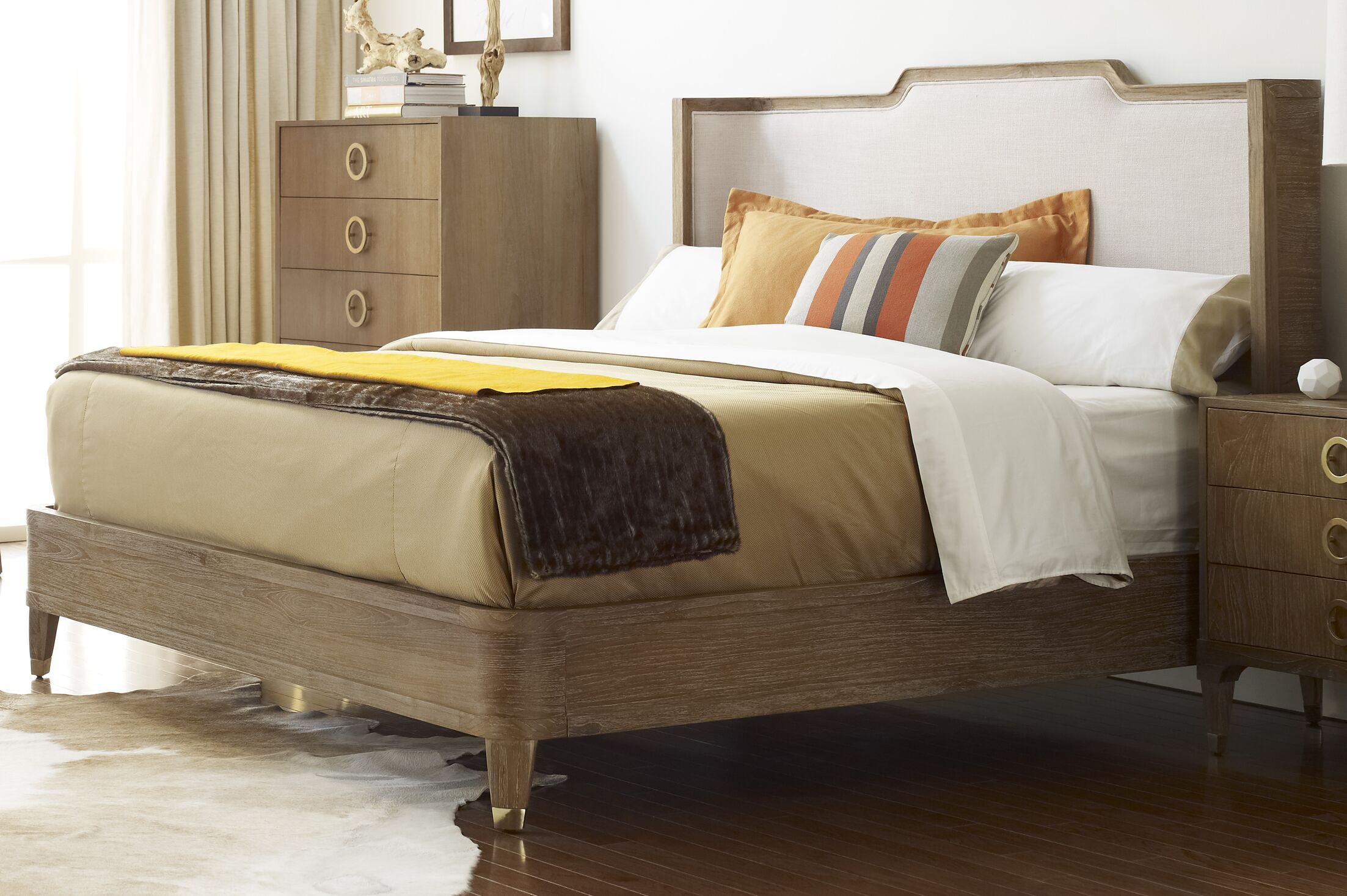 Atherton Upholstered Panel Headboard Color: Cerused Teak / Brushed Brass, Size: California King