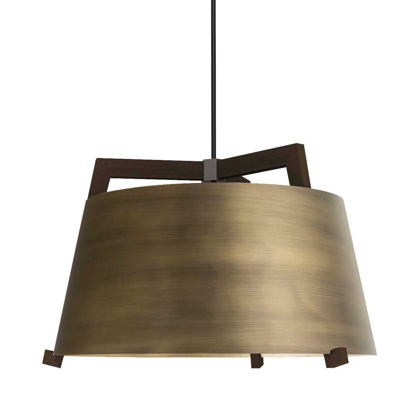Ignis 1-Light Inverted Pendant Finish: Dark Stained Walnut/Distressed Brass