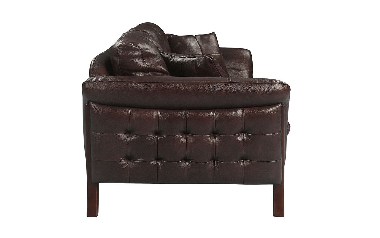 Makeba Mid-Century Modern Real Leather Sofa Upholstery: Brown