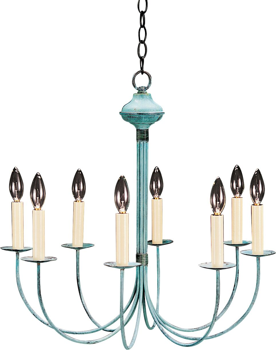 Socket Hanging J-Arms 8-Light Chandelier Finish: Dark Brass