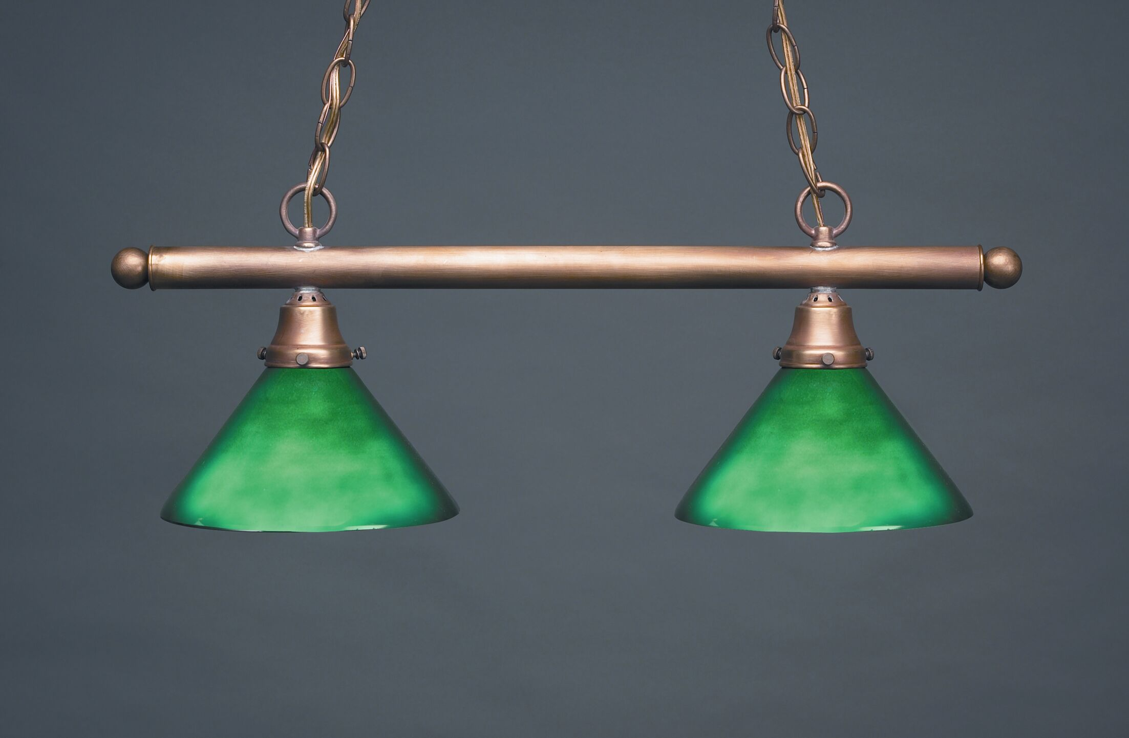Pendant Two Medium Base Sockets Hanging Pendant Finish: Dark Antique Brass, Glass Type: 50G Green