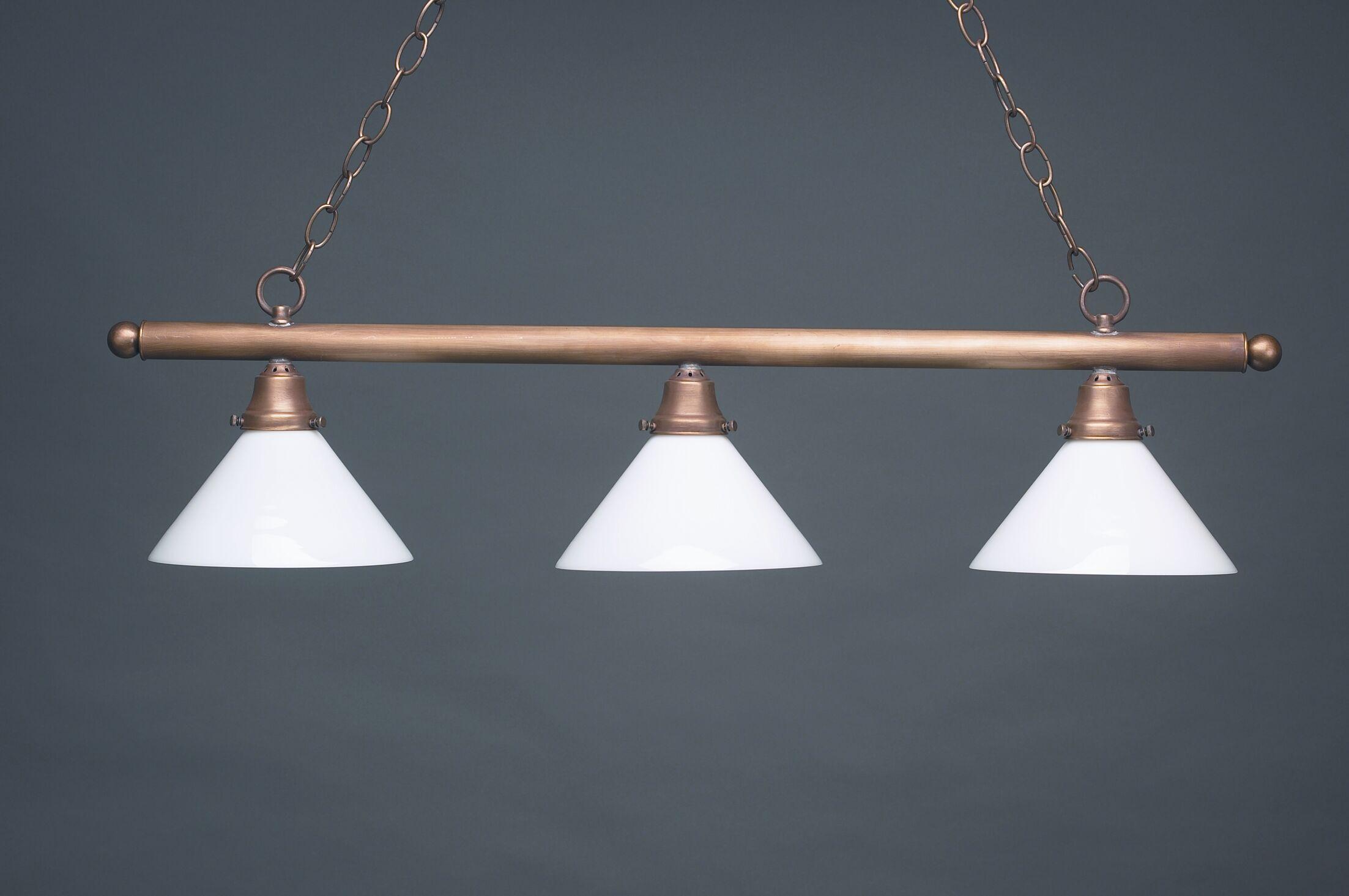 Pendant Three Medium Base Sockets Hanging Pendant Finish: Antique Brass, Glass Type: 50W White