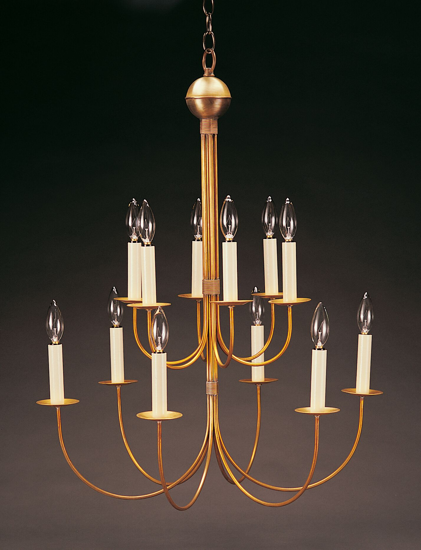 Sockets Hanging 2 Tier J-Arms 12-Light Chandelier Finish: Dark Brass