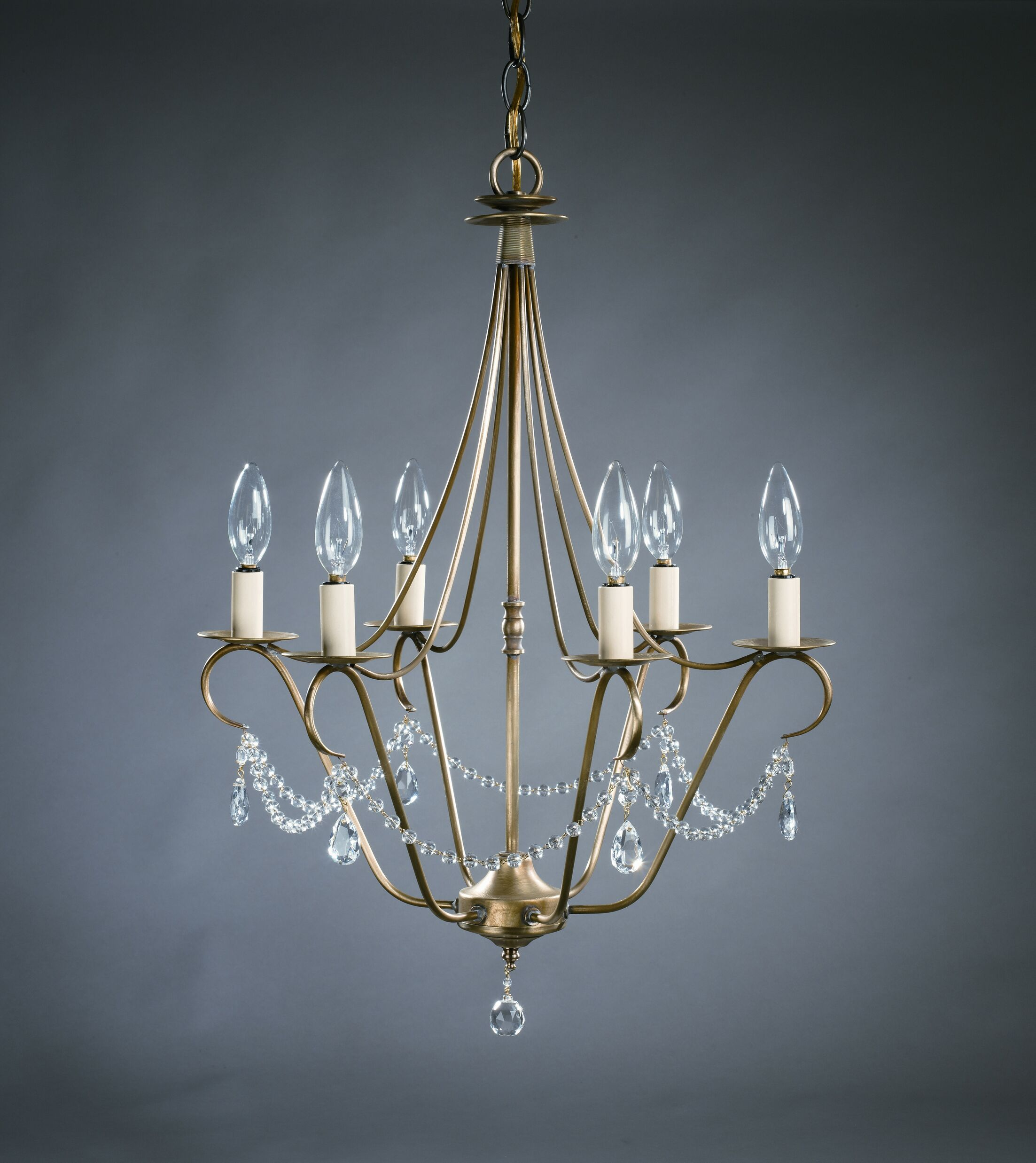 Sockets Hanging 6-Light Chandelier Finish: Dark Antique Brass