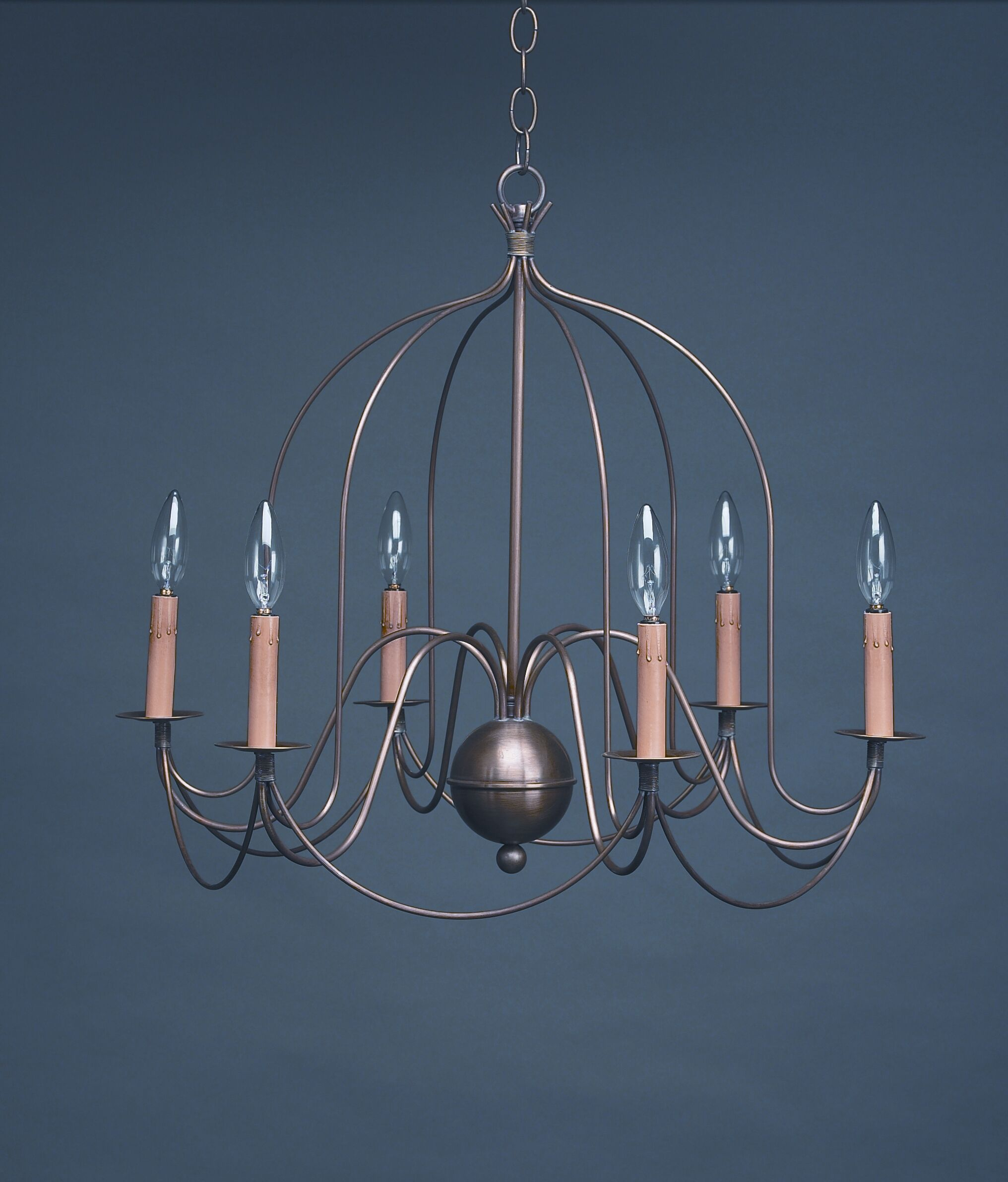 Sockets Bird Cage Hanging 6-Light Chandelier Finish: Dark Antique Brass