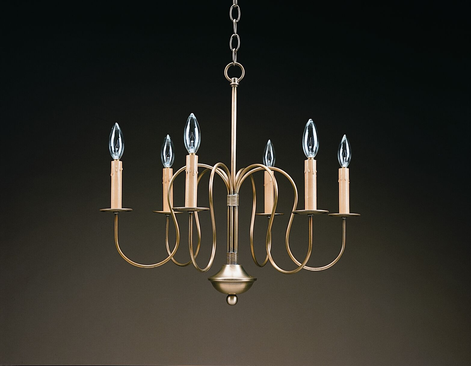 Sockets S-Arms Hanging 6-Light Chandelier Finish: Antique Brass
