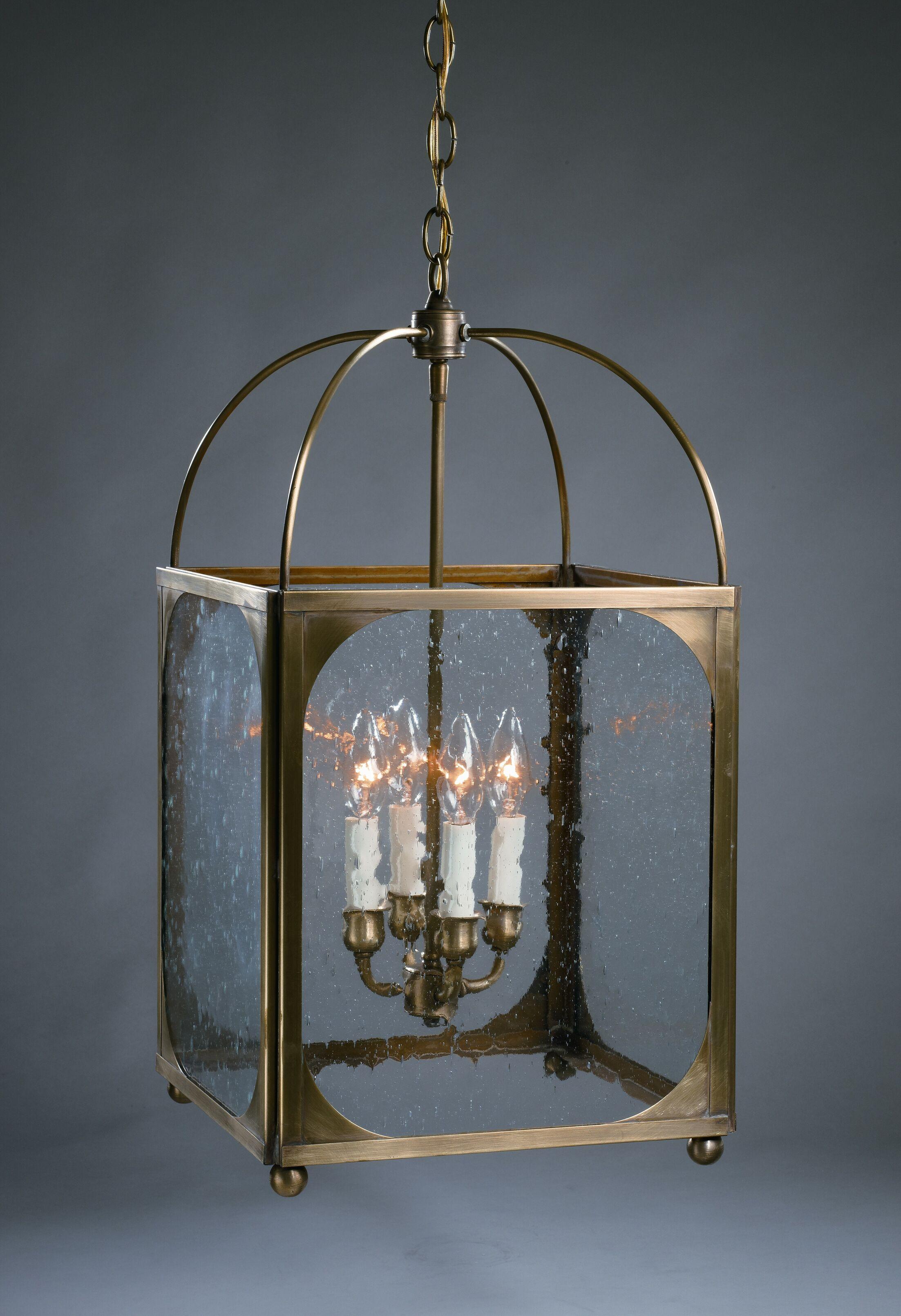 Chandelier 4-Light Foyer Pendant Finish: Antique Copper, Glass Type: Clear