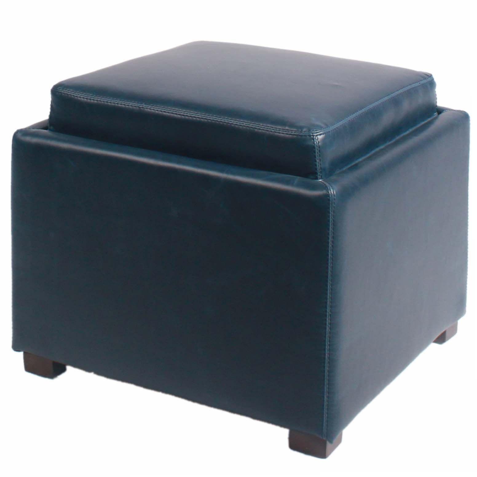 Jeddo Cube Ottoman Leather Color: Vintage Blue