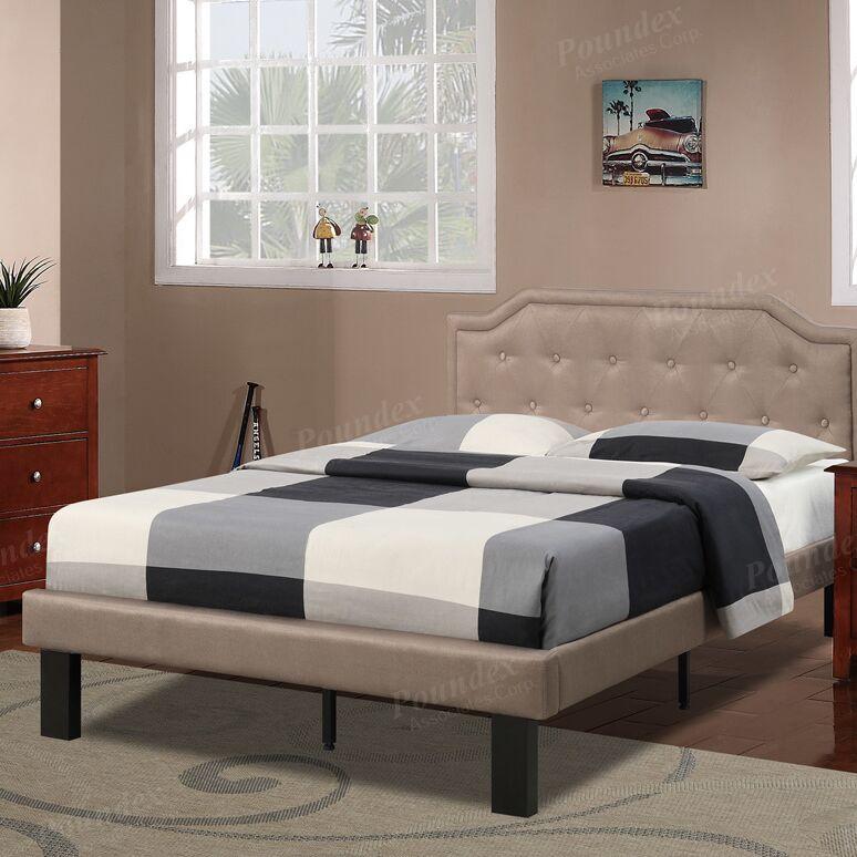 Bobkona Finely Twin Upholstered Platform Bed Color: Tan