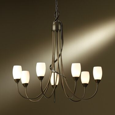 Flora 7-Light Shaded Chandelier Shade Color: Opal, Finish: Bronze