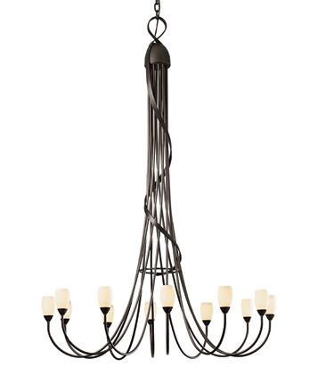 Flora 12-Light Shaded Chandelier Finish: Burnished Steel, Shade Color: Opal
