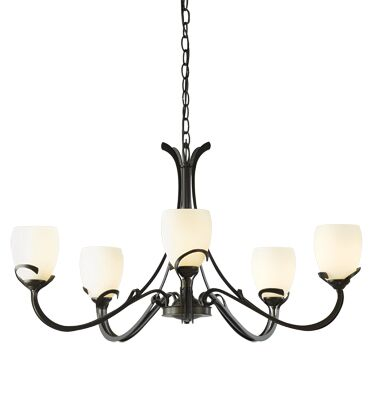 Aubrey 5-Light Shaded Chandelier Shade Color: Stone, Finish: Black