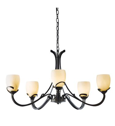 Aubrey 5-Light Shaded Chandelier Shade Color: Stone, Finish: Dark Smoke