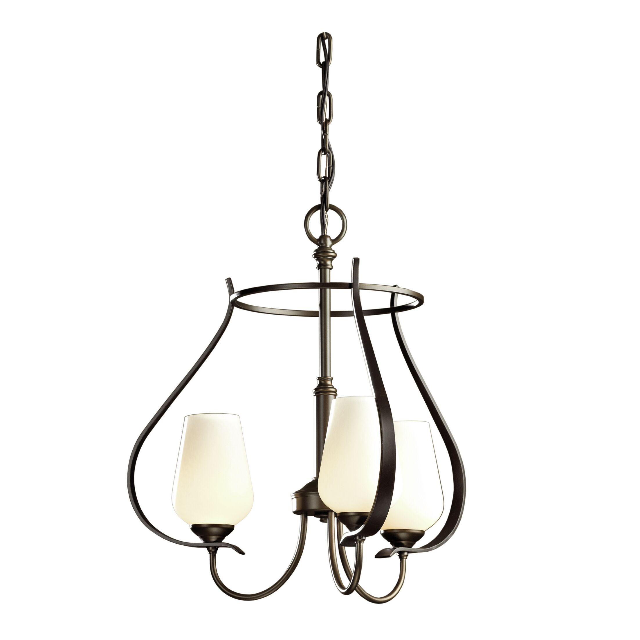 Flora 3-Light Shaded Chandelier Glass Type: Seeded Clear Glass, Finish: Dark Smoke