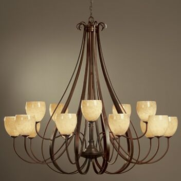 15-Light Shaded Chandelier Finish: Dark Smoke, Shade Color: Pearl