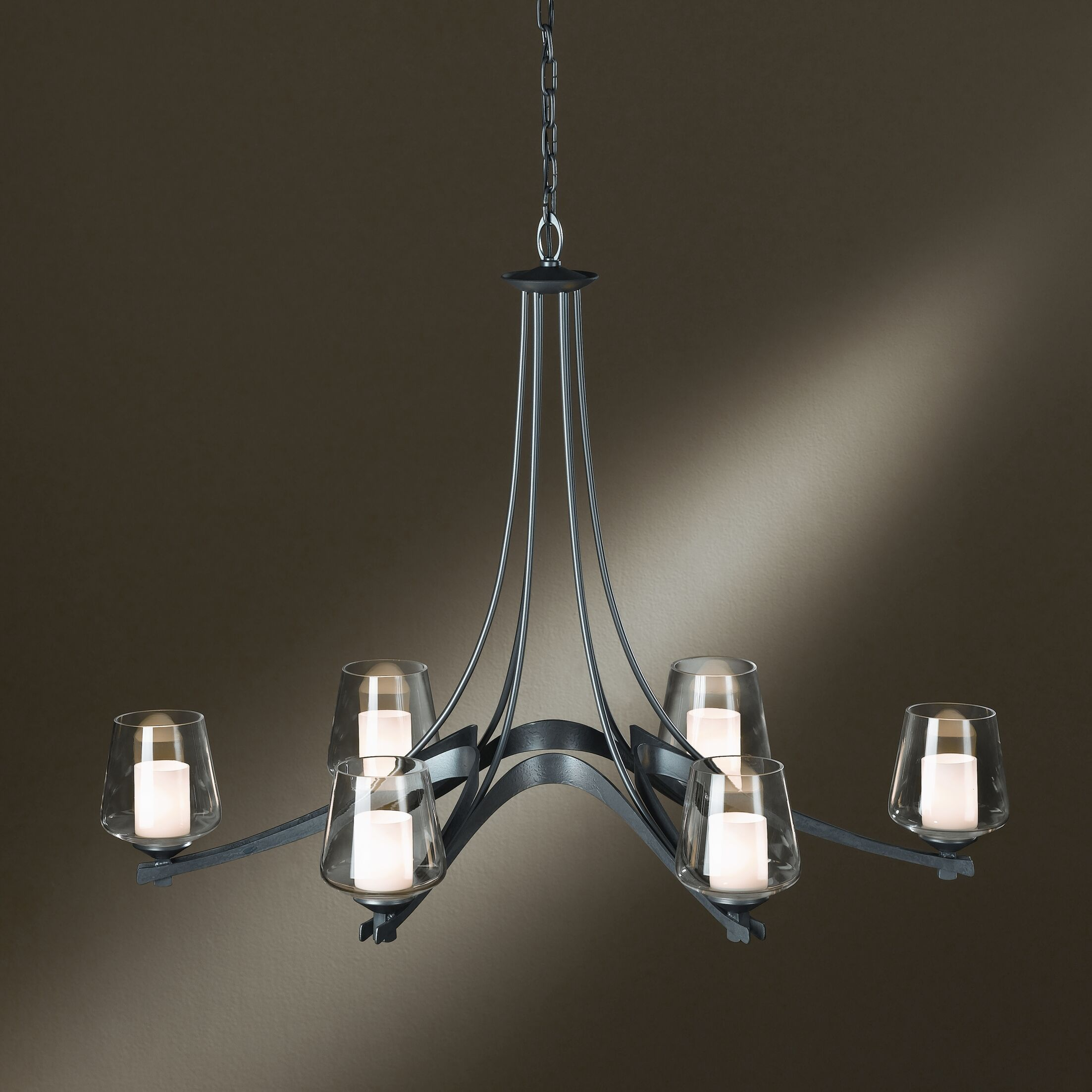 Ribbon 6-Light Shaded Chandelier Finish: Brushed Steel, Shade Color: Opal
