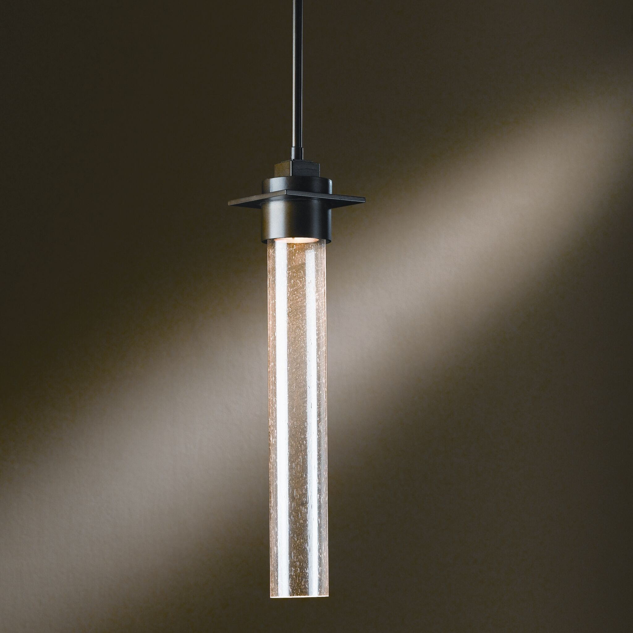 Airis 1-Light Cylinder Pendant Glass: Mess Tube Diffuser, Finish: Translucent Dark Smoke