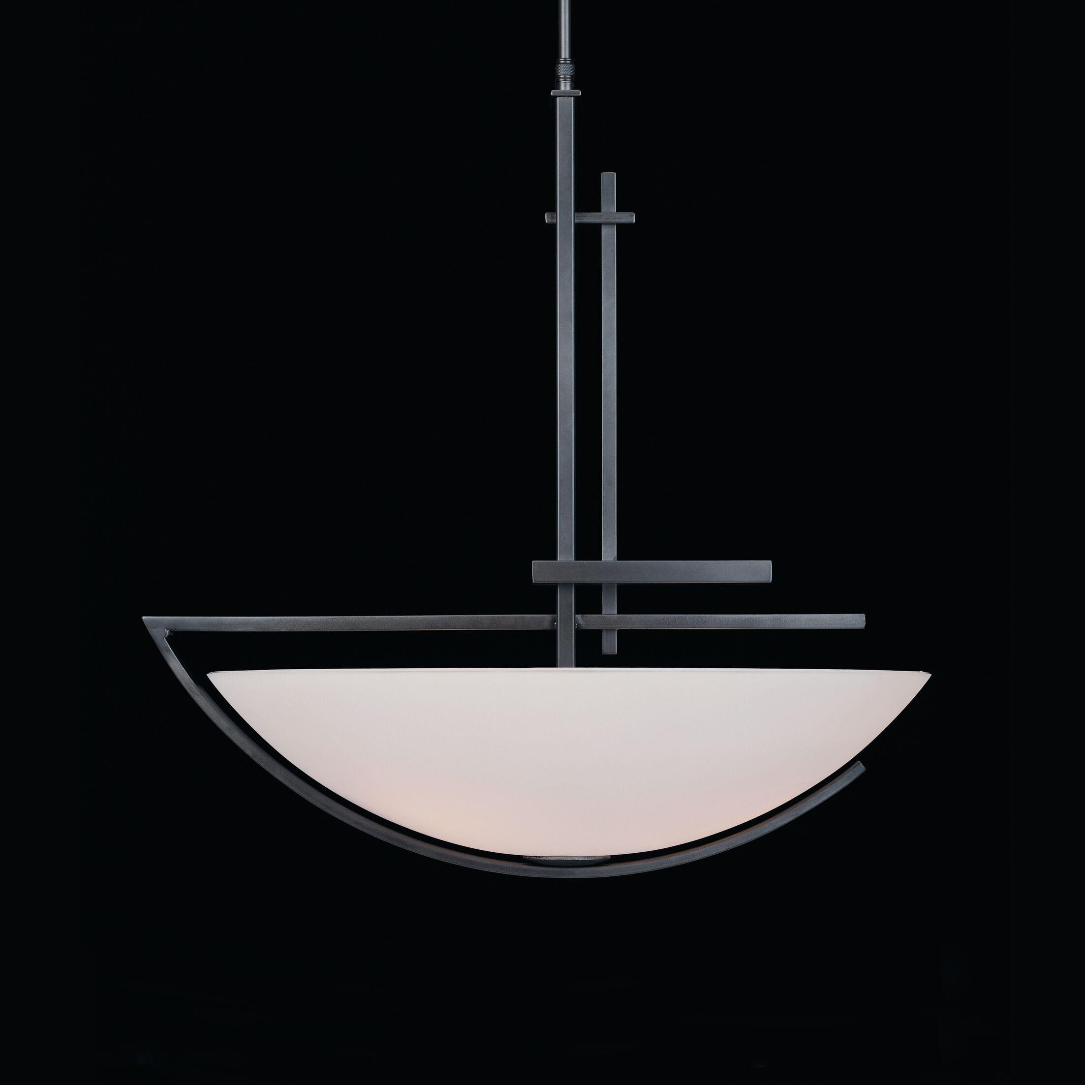 Ondrian 3-Light Bowl Pendant Finish: Mahogany, Shade Color: Opal, Stem Length: 30