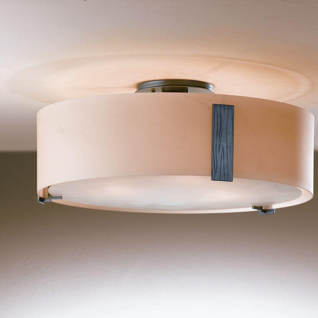 Impressions 3-Light Semi Flush Mount Finish: Natural lron, Shade Color: Pearl, Bulb Type: (3) 100W A-19 medium base bulbs