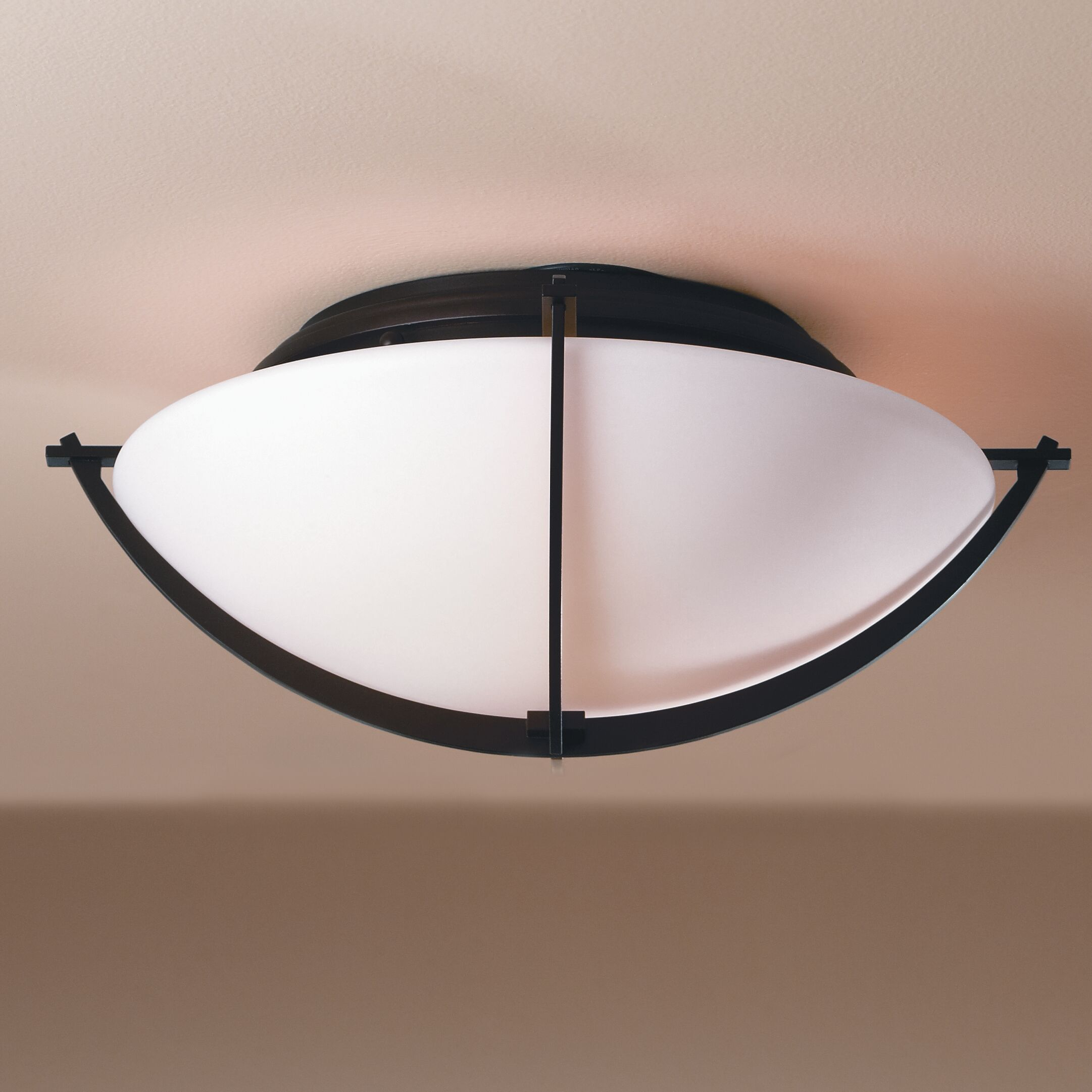 Compass 2-Light Flush Mount Finish: Black, Shade Color: Stone