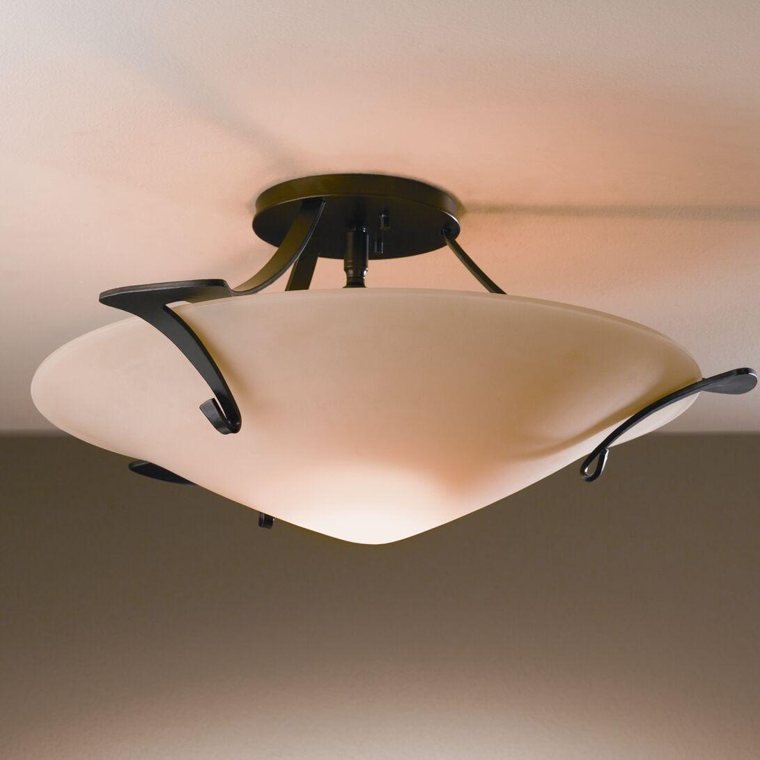 Antasia 1-Light Semi Flush Mount Finish: Brushed Steel, Shade Color: Sand, Bulb Type: (1) 100W A-19 medium base bulb