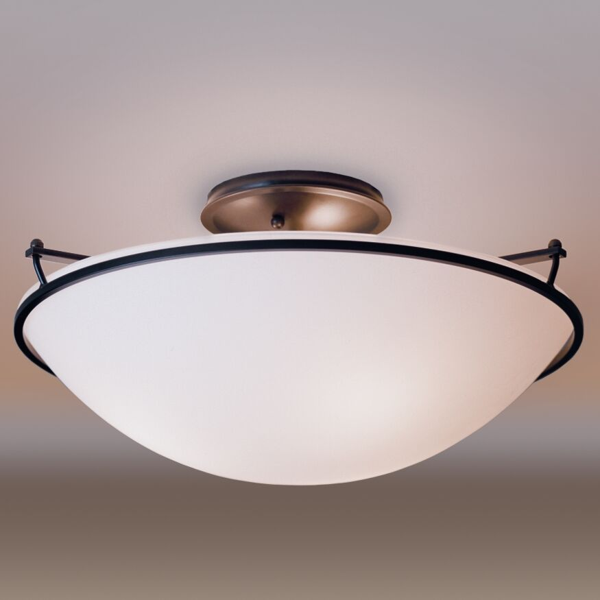3-Light Semi Flush Mount Finish: Mahogany, Shade Color: Opal, Bulb Type: (3) 100W fluorescent bulbs